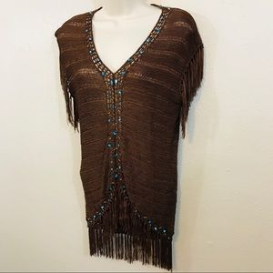 Carducci Loose Knit Brown Top with Fringe - Large